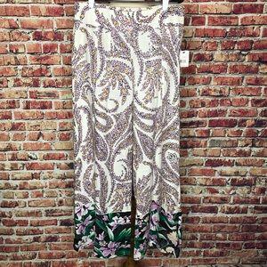 NWT Tahari Wide Leg Floral Print Linen Pants